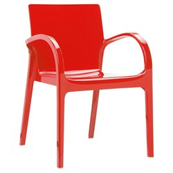 Compamia Dejavu Polycarbonate Patio Dining Chair in Glossy Red