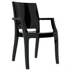 Compamia Arthur Polycarbonate Patio Dining Chair in Glossy Black