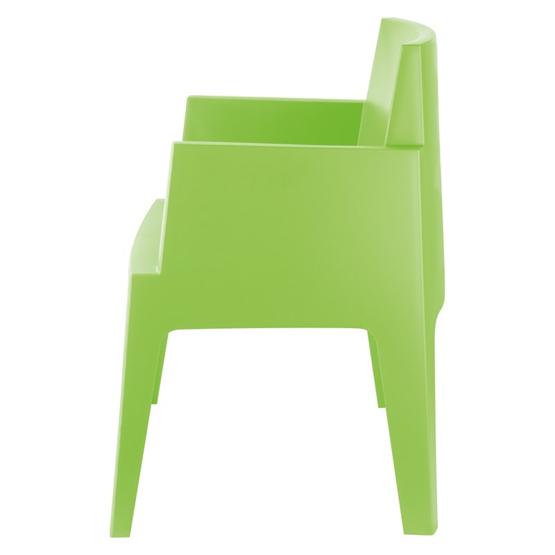 Compamia Box Resin Patio Dining Arm Chair in Tropical Green