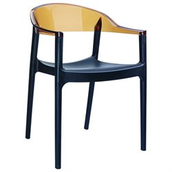 Compamia Carmen Patio Dining Chair with Black Seat in Amber