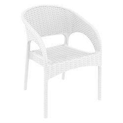 Compamia Panama Resin Wickerlook Patio Dining Arm Chair in White