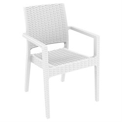 Compamia Ibiza Resin Wickerlook Patio Dining Arm Chair in White