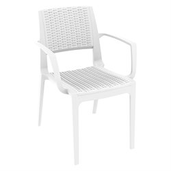 Compamia Capri Resin Patio Dining Arm Chair in White