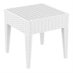 Compamia Miami Square Resin Patio Side Table in White