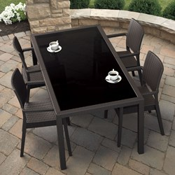Compamia Miami 5 Piece Wickerlook Patio Dining Set in Brown