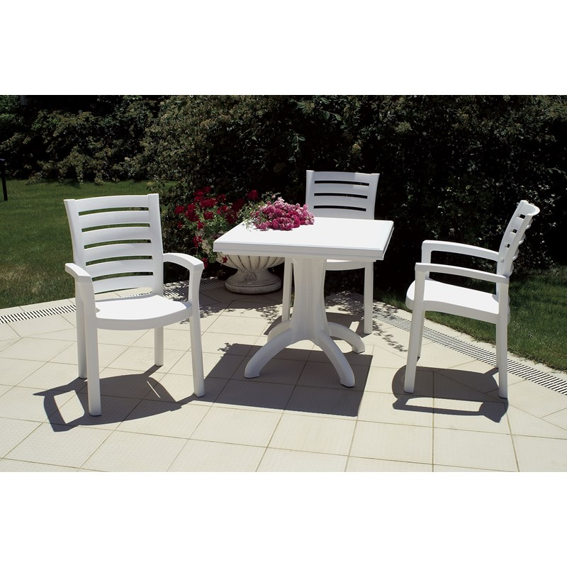 Compamia Marina Resin Patio Dining Arm Chair in White