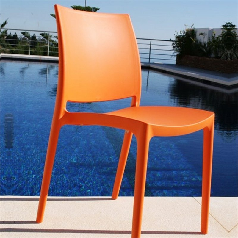 Compamia Maya Patio Dining Chair in Orange & Compamia Maya Patio Dining Chair in Orange - ISP025-ORA