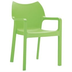 Compamia Diva Resin Outdoor Patio Dining Arm Chair in Tropical Green