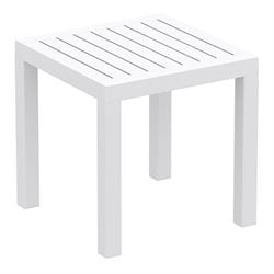 Compamia Ocean Square Resin Patio Side Table in White