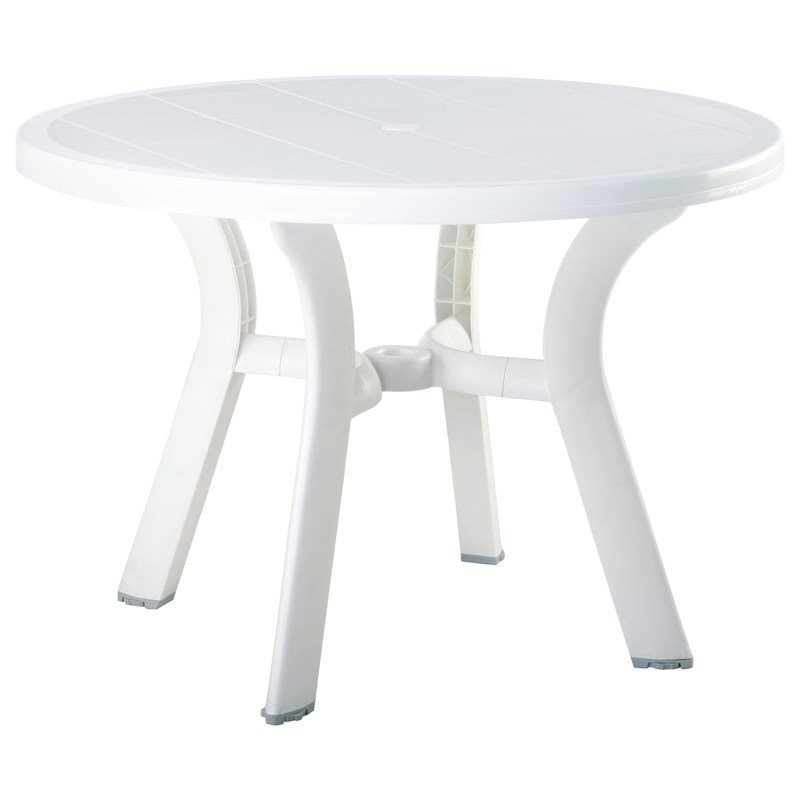 Compamia Truva 42 inch Round Resin Patio Dining Table in White
