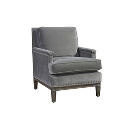 Universal Furniture Curated Prescott Velvet Arm Chair in Gray