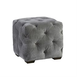 Universal Furniture Curated Barkley Velvet Tufted Cube Ottoman in Gray