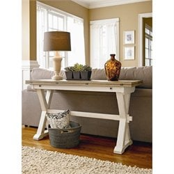 Universal Furniture Great Rooms Drop Leaf Console Table in Terrace Gray and Washed Linen