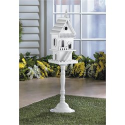 Zingz and Thingz 2 Story Pedestal Birdhouse in White