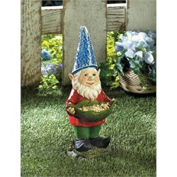 Zingz and Thingz Bird Feeder Gnome Solar Statue