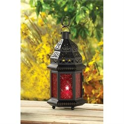 Zingz and Thingz Glass Moroccan Lantern in Red