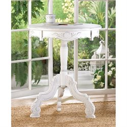 Zingz and Thingz Romantic Rococo Accent Table in Distressed White