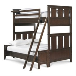 Smartstuff Freestyle Wood Twin Over Full Bunk Bed in Mocha