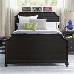 Smartstuff Black & White Wood Full Panel Bed in Black