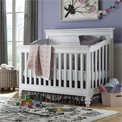 Smartstuff Black & White Wood Convertible Crib in White