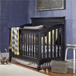 Smartstuff Black & White Wood Convertible Crib in Black
