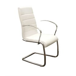 Casabianca Avenue Leather Dining Arm Chair in White