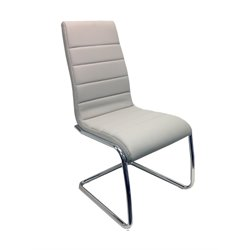 Casabianca Avenue Leather Dining Chair in Gray