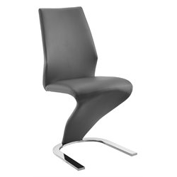 Casabianca Boulevard Leather Dining Chair in Gray