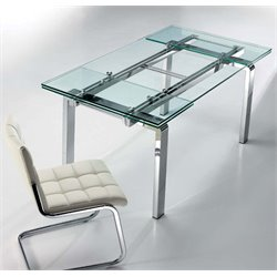 Casabianca Cloud Stainless Steel Extendable Dining Table in Silver