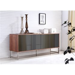 Casabianca Cuadro Mirrored Glass Buffet in Walnut