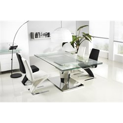 Casabianca Diamond Stainless Steel Extendable Dining Table in Silver