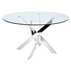 Casabianca Galaxy Round Glass Dining Table in Silver
