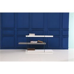 Casabianca Il Vetro 3 Shelf Bookcase in White and Gray