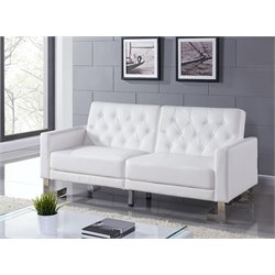 Casabianca Marino Leather Sleeper Sofa in White