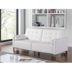 Casabianca Spezia Leather Upholstered Sleeper Sofa in White