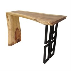 Casabianca Teca Teak Metal Console Table in Black