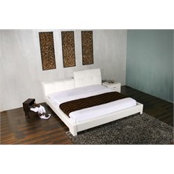 Casabianca Tiffany Leather Upholstered King Bed in White