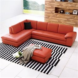 JM Furniture Red Leather Sectional with Ottoman