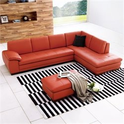 JM Furniture Right Facing Leather Sectional with Ottoman in Red