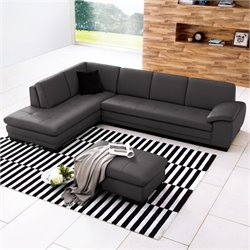 J&M Furniture 625 Italian Leather Left Sectional in Grey