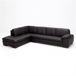 J&M Furniture 625 Italian Leather Left Sectional in Brown