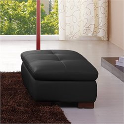 J&M Furniture 625 Italian Leather Ottoman in Black