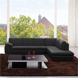 J&M Furniture 625 Italian Leather Right Sectional in Black