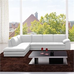J&M Furniture 625 Italian Leather Left Sectional in White