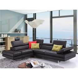 J&M Furniture A761 Italian Leather Left Sectional in Black