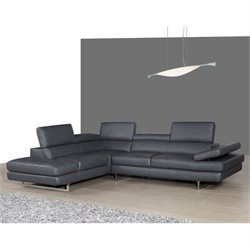 J&M Furniture A761 Italian Leather Left Sectional in Slate Grey