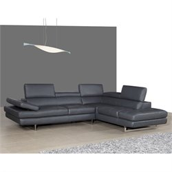 J&M Furniture A761 Italian Leather Right Sectional in Slate Grey