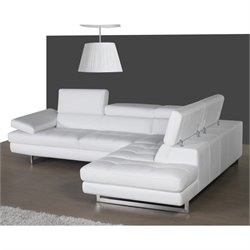 J&M Furniture A761 Leather Right Sectional in White