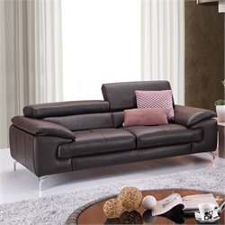 J&M Furniture A973 Italian Leather Sofa in Coffee