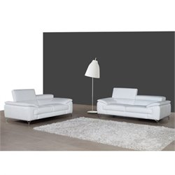 J&M Furniture A973 2 Piece Leather Sofa Set in White